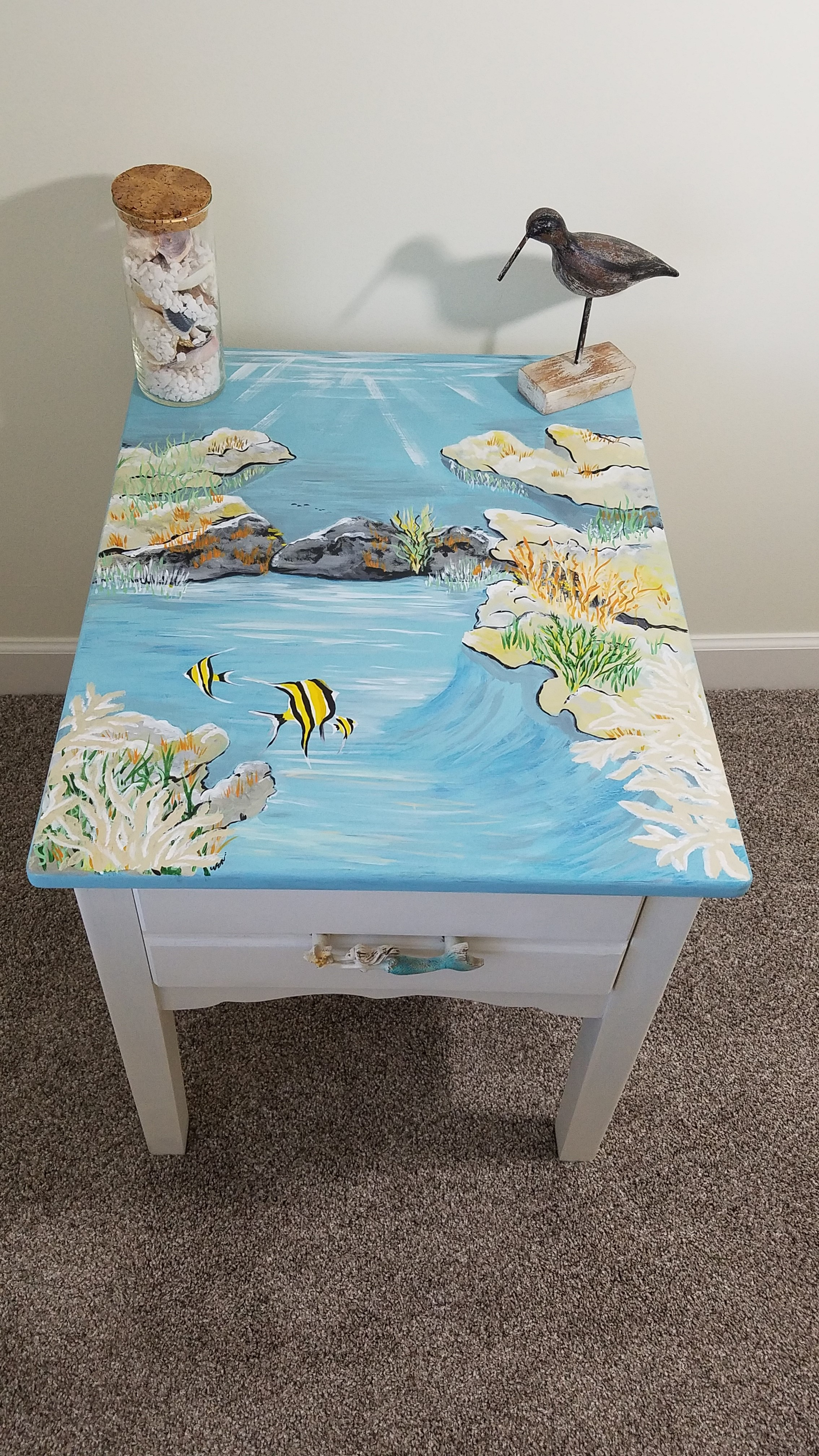 Custom, Hand Painted, Side Table or End Table, Under Water Scene ...